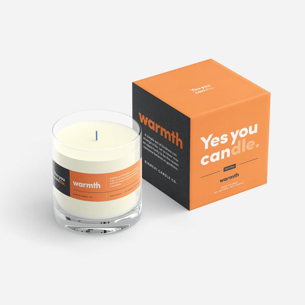 Warmth Yes You CANdle, 9.5 oz. 100% Soy, hand poured, 60 hr burn time - © Blue Pomegranate Gallery