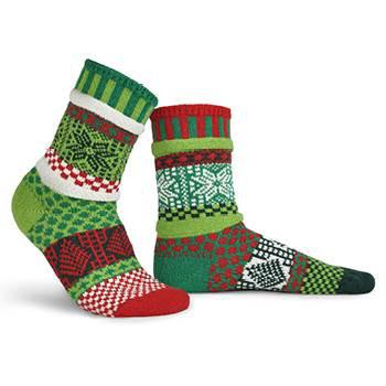 Mistletoe Adult Crew Socks made of recycled cotton by Marianne Makerlin - © Blue Pomegranate Gallery