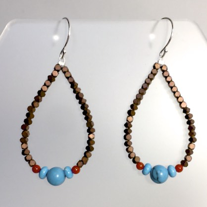 Hematite Coral & Turquoise Earrings by Cassie Leaders