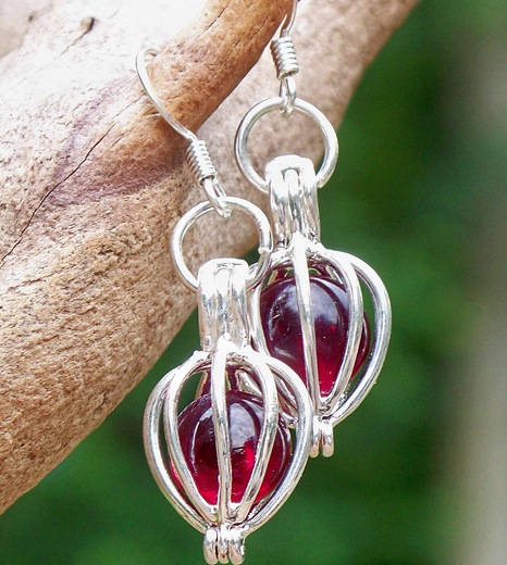 Ruby Silver Drop Earrings by Laura Bergman - © Blue Pomegranate Gallery