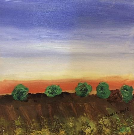 "Tree Line 3 by John Durr - Original Acrylic, 12 x 12"" - © Blue Pomegranate Gallery"