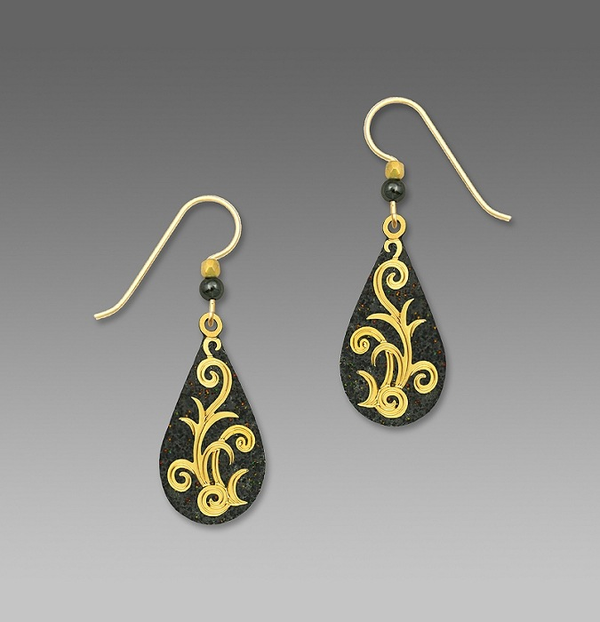 Charcoal Teardrop with Gold Earrings by Barbara MacCambridge
