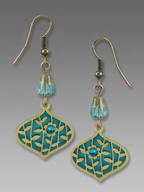 7857 Deco Teardrop with Leaves and Flower Earrings by Barbara MacCambridge - © Blue Pomegranate Gallery