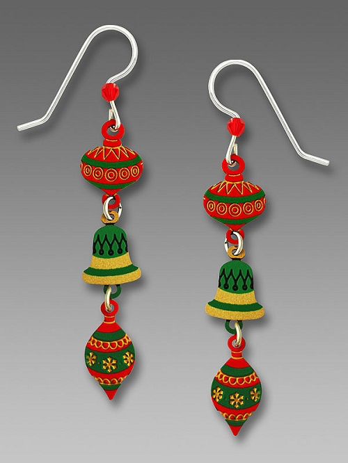 Triple Christmas Ornaments Earrings by Barbara MacCambridge - © Blue Pomegranate Gallery