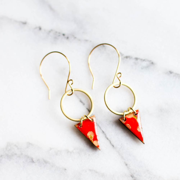 Japanese Pennant & Brass Circle Earrings by Jayme Lillie