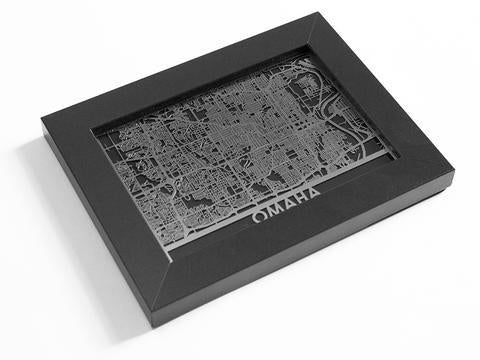 5 x 7 Framed Stainless Steel Omaha Map - © Blue Pomegranate Gallery