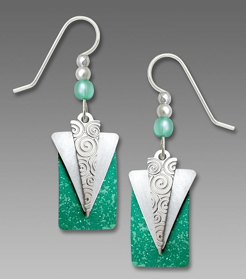 Silver Triangle over Green Earrings by Barbara MacCambridge