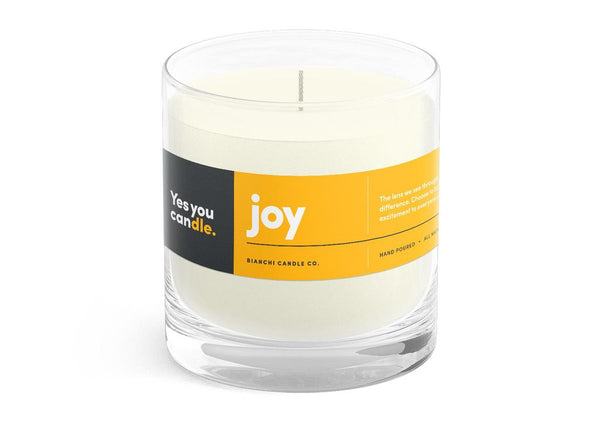 Joy Yes You CANdle, 8 oz. 100% Soy, hand poured, 60 hr burn time - © Blue Pomegranate Gallery