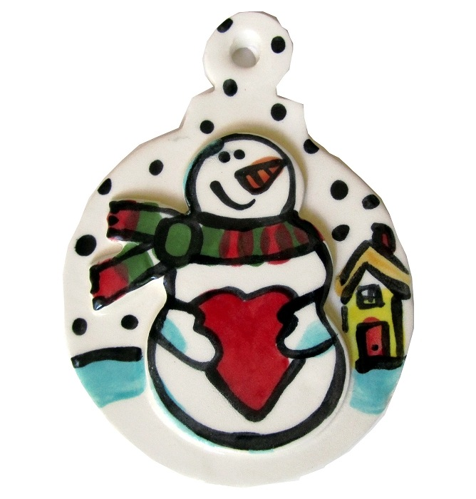 Have A Heart Snowman Ornament by Nicole Engblom - © Blue Pomegranate Gallery