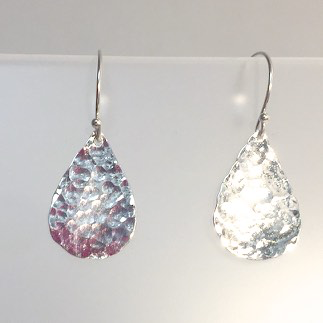 Hammered Teardrop Earrings by Cassie Leaders