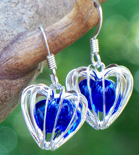 Cobalt Heart Cage Earrings by Laura Bergman - © Blue Pomegranate Gallery