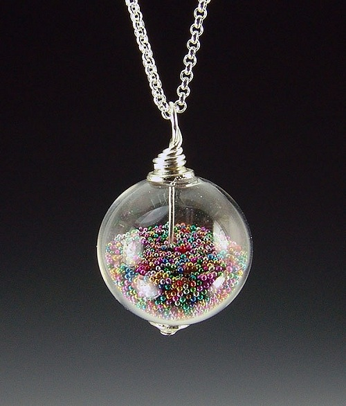 Snow Globe Microbead Necklace by Charmaine Jackson - © Blue Pomegranate Gallery