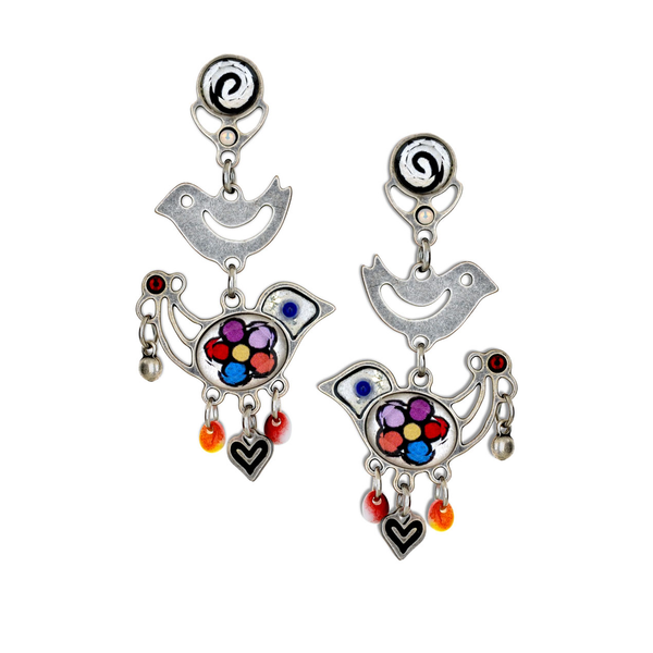 Silver Bird of Paradise Earrings by Yoolie - © Blue Pomegranate Gallery