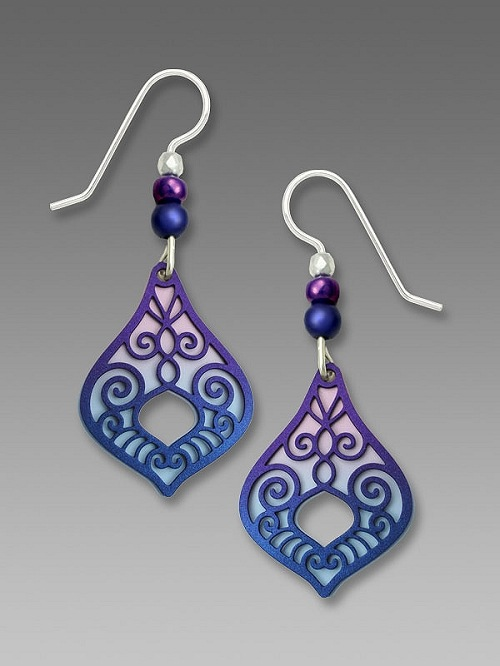 Violet Blue Victorian Style Teardrop Earrings by Barbara MacCambridge