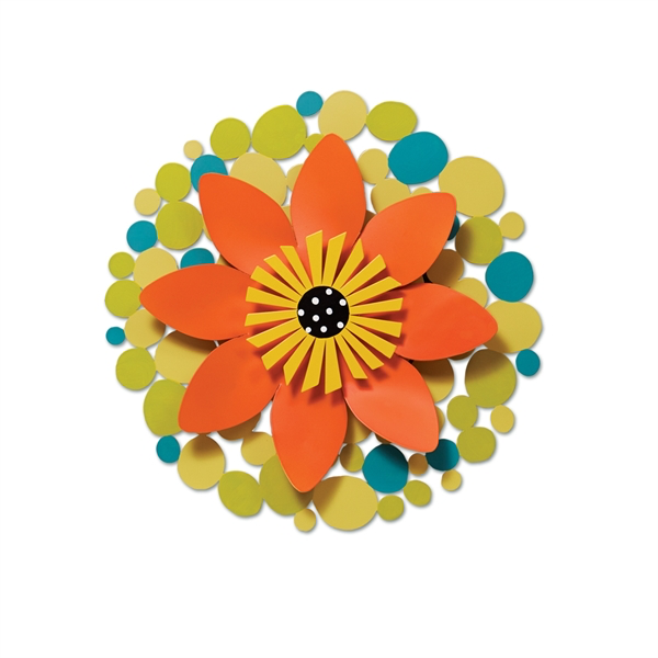 "13"" Orange Flower on Green Dots Kinetic Spinner by Carol Roeda - © Blue Pomegranate Gallery"