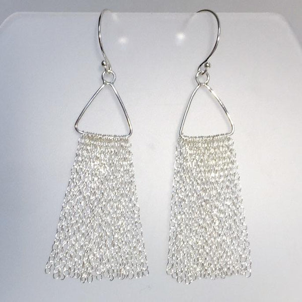 Sterling Triangle Chain Fringe Earrings by Cassie Leaders