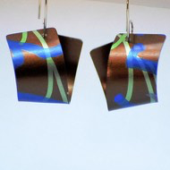 Anodized Aluminum, Sterling Silver Earrings by Jon Klar