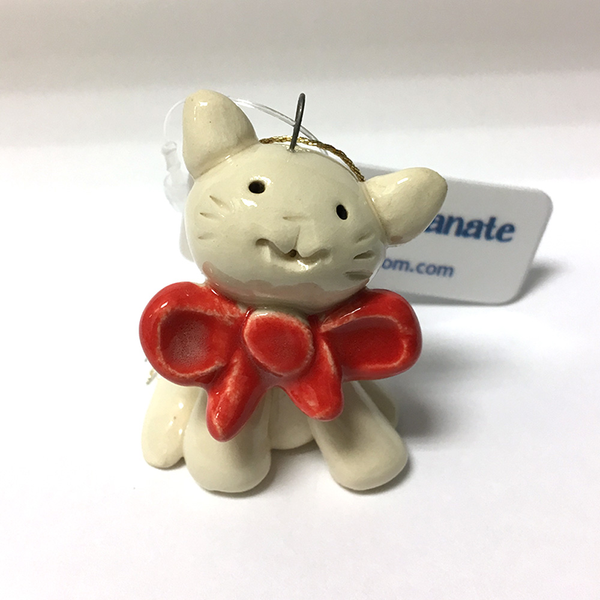 Bow Kitty Ornament by Cindy Pacileo *Last Chance Item