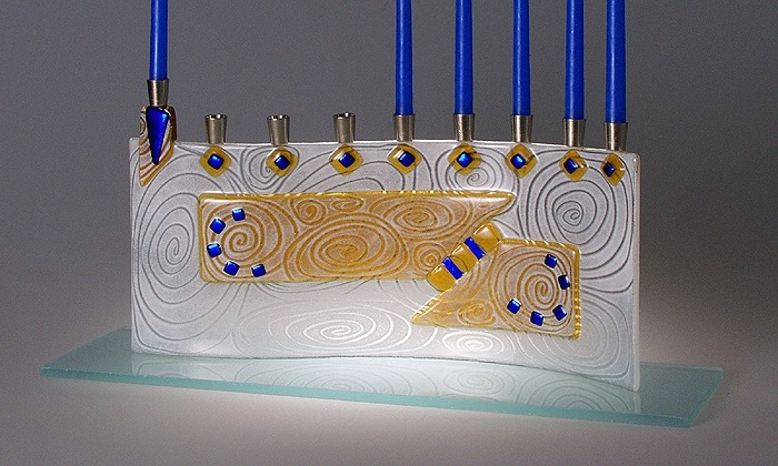 Vortex Amber Menorah by Sara Beames - Judaica - © Blue Pomegranate Gallery