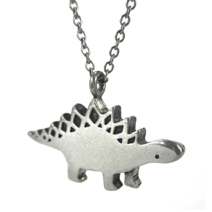 Pewter Stegosaurus Necklace by Mark Poulin - © Blue Pomegranate Gallery