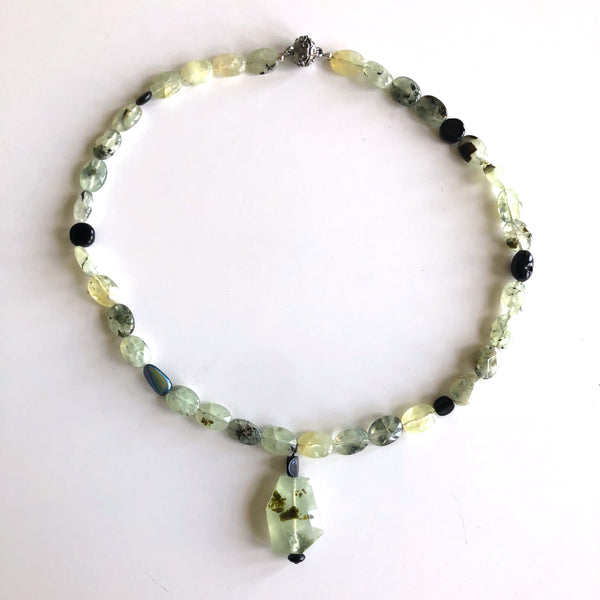 Baltic Sea necklace - Prehnite & Blk Onyx by Trudy Foster - © Blue Pomegranate Gallery