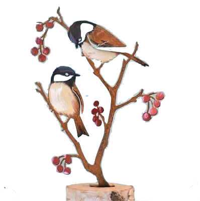 Chickadees & Berries TOP by Jim & Madeleine Crowdus - © Blue Pomegranate Gallery