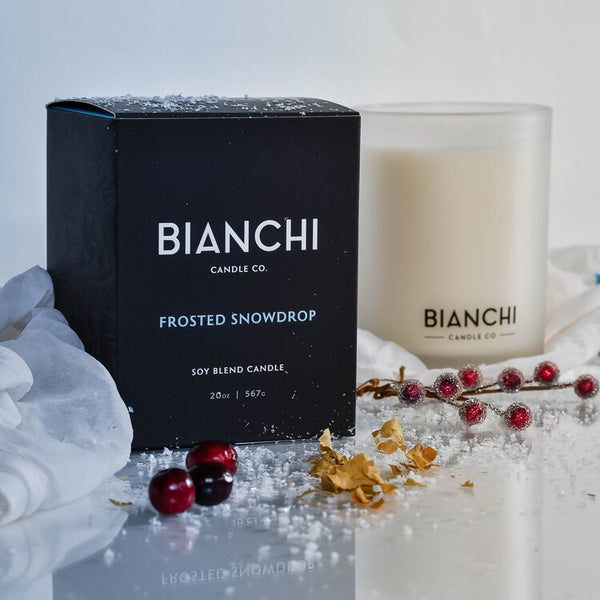 Bianchi Candle, 20 oz. Soy wax, hand poured, 250 hr burn time - © Blue Pomegranate Gallery