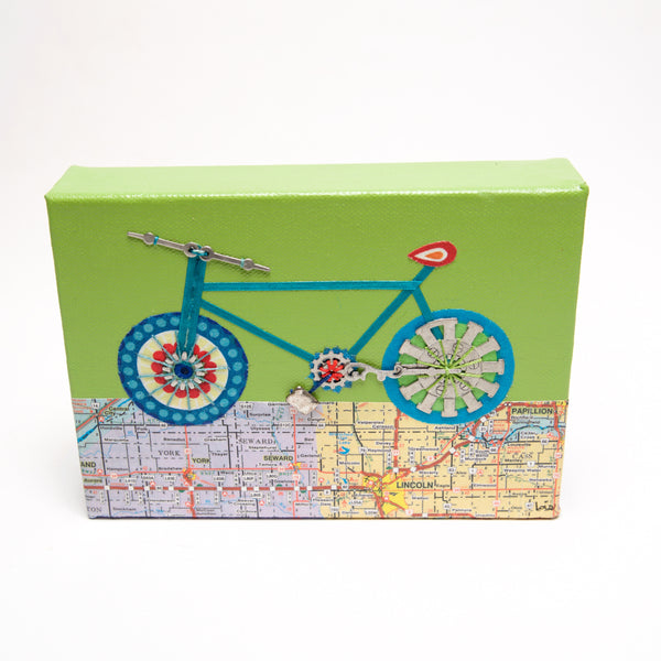 Bike w/ Map Green by Lois Froistad - © Blue Pomegranate Gallery