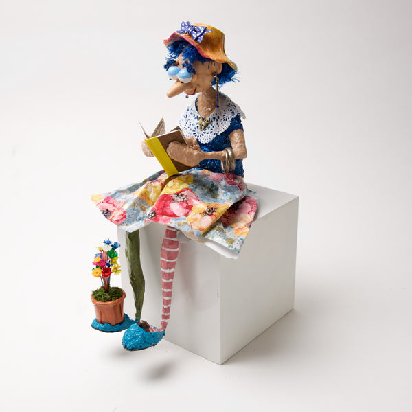 Bookworm w/ flower pot By Naava Naslavsky - © Blue Pomegranate Gallery