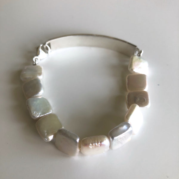 Stainless Bar w/ White square pearl Bracelet by Cassie Leaders - © Blue Pomegranate Gallery