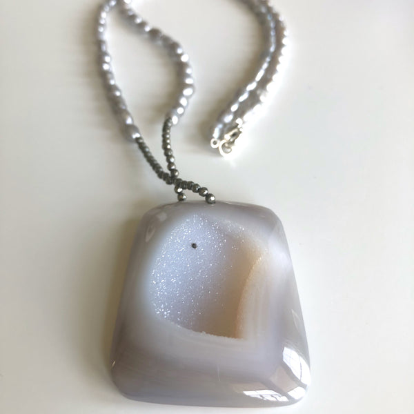 Gray Druzy, Iron Pyrite & Gray Pearl Necklace by Cassie Leaders - © Blue Pomegranate Gallery