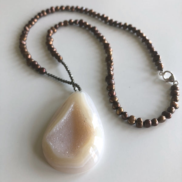 Cream Druzy Iron Pyrite & Bronze Pearl by Cassie Leaders - © Blue Pomegranate Gallery