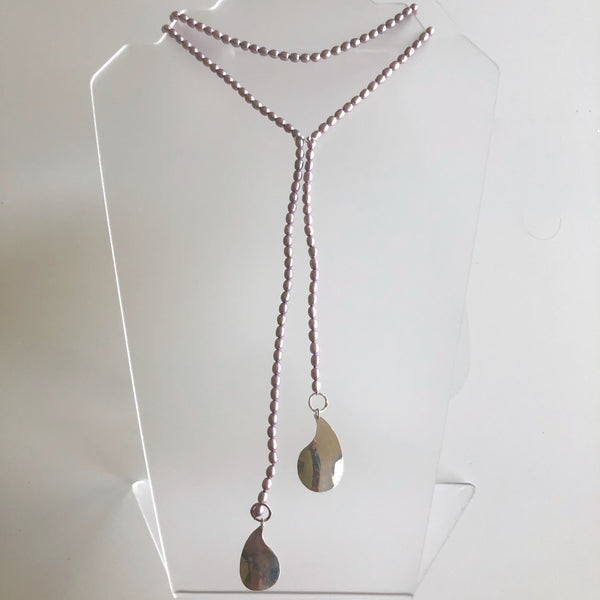 Lavender Pearl long strand w/ tear drops by Cassie Leaders - © Blue Pomegranate Gallery