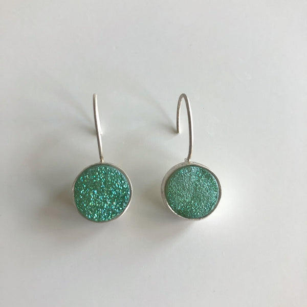 Light Green Round Druzy Earrings by Cassie Leaders - © Blue Pomegranate Gallery