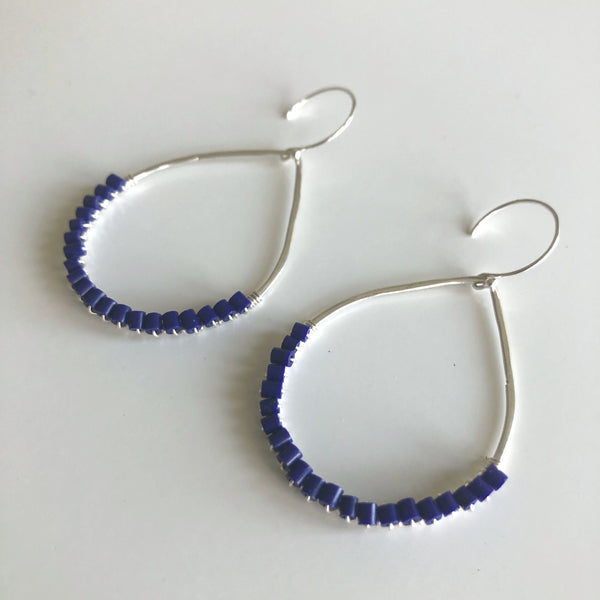 Lapis wire wrapped teardrop shape earrings by Cassie Leaders - © Blue Pomegranate Gallery