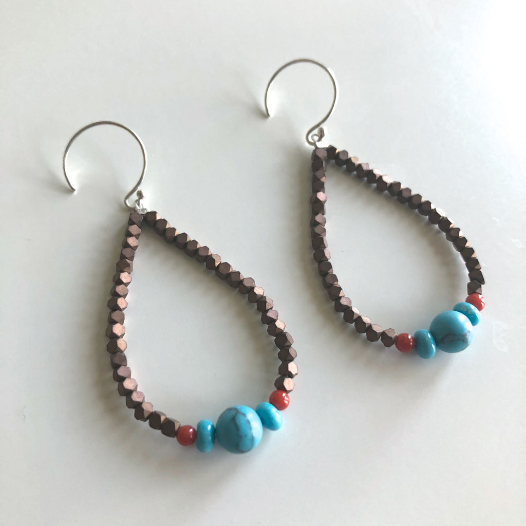 Hematite Coral & Turquoise Earrings by Cassie Leaders - © Blue Pomegranate Gallery