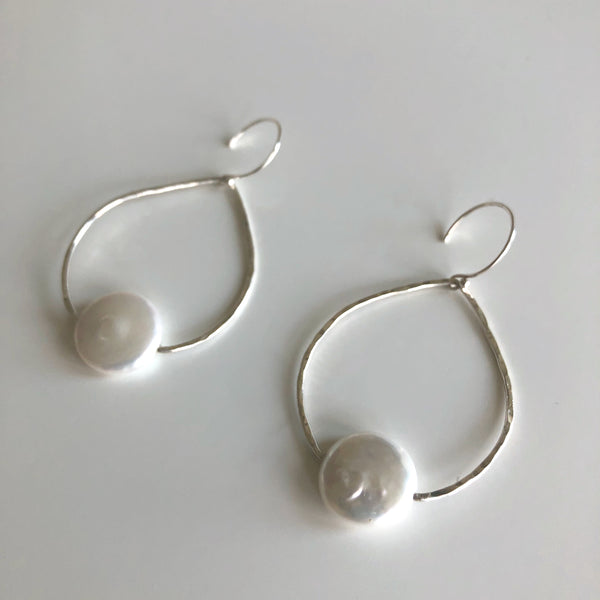 MED Sterling Hammered Teardrop White Coin Pearl Earrings by Cassie Leaders - © Blue Pomegranate Gallery