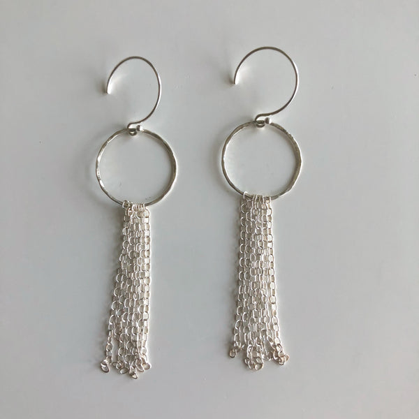 Sterling Circle Chain Skinny Fringe Earrings by Cassie Leaders - © Blue Pomegranate Gallery
