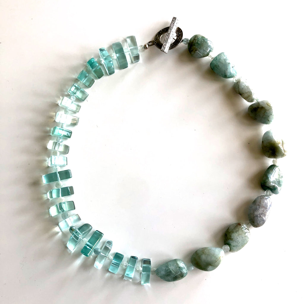 Chunky Aquamarine with Triangle Glass Bead Necklace by Trudy Foster - © Blue Pomegranate Gallery