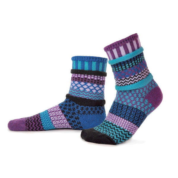 Raspberry Adult Crew Socks made of recycled cotton by Marianne Makerlin - © Blue Pomegranate Gallery