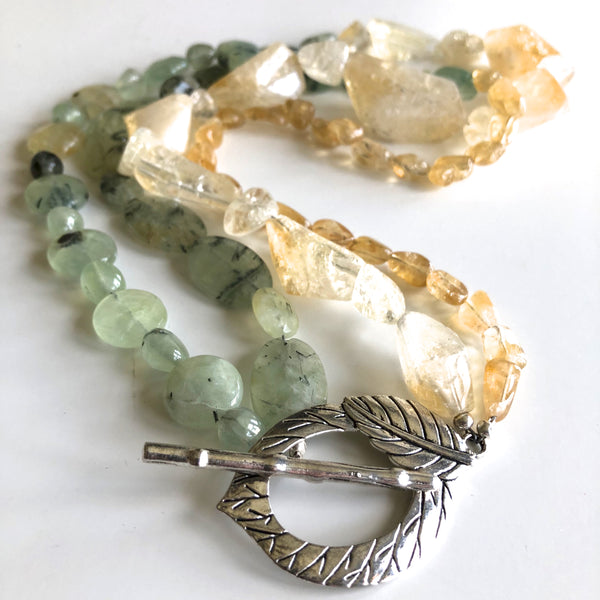 Extra Long Prehenite, Yellow Quartz & Citrine Necklace by Trudy Foster - © Blue Pomegranate Gallery