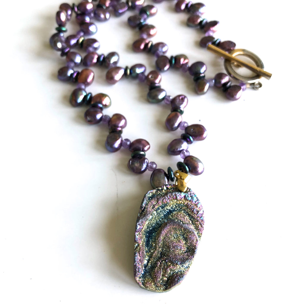 Freshwater Pearls with Peacock Druzy Pendant by Trudy Foster - © Blue Pomegranate Gallery