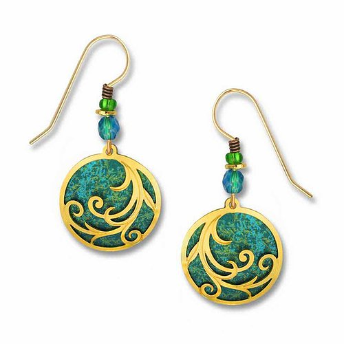 7339 Ribbons on teal disc Earrings by Barbara MacCambridge - © Blue Pomegranate Gallery