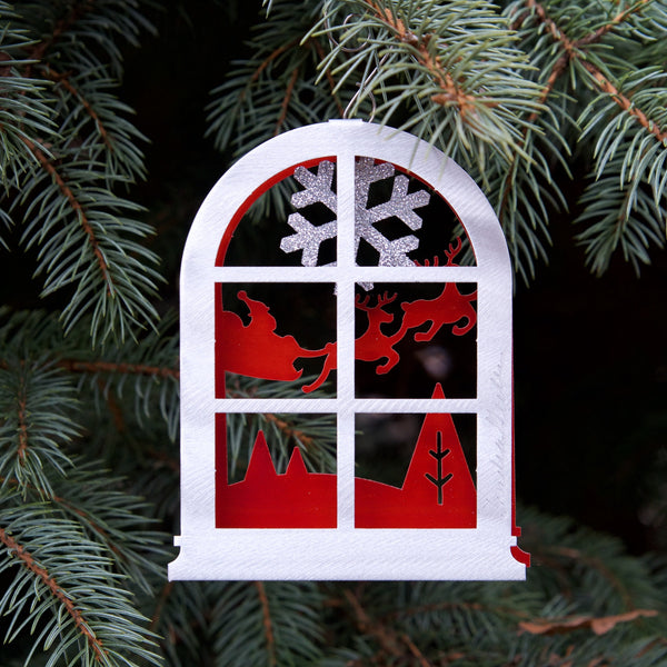 Window View Sleigh Ornament by Sondra Gerber