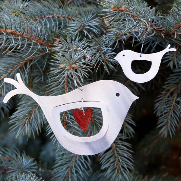 Mama & Baby Bird pair ornament by Sondra Gerber - © Blue Pomegranate Gallery