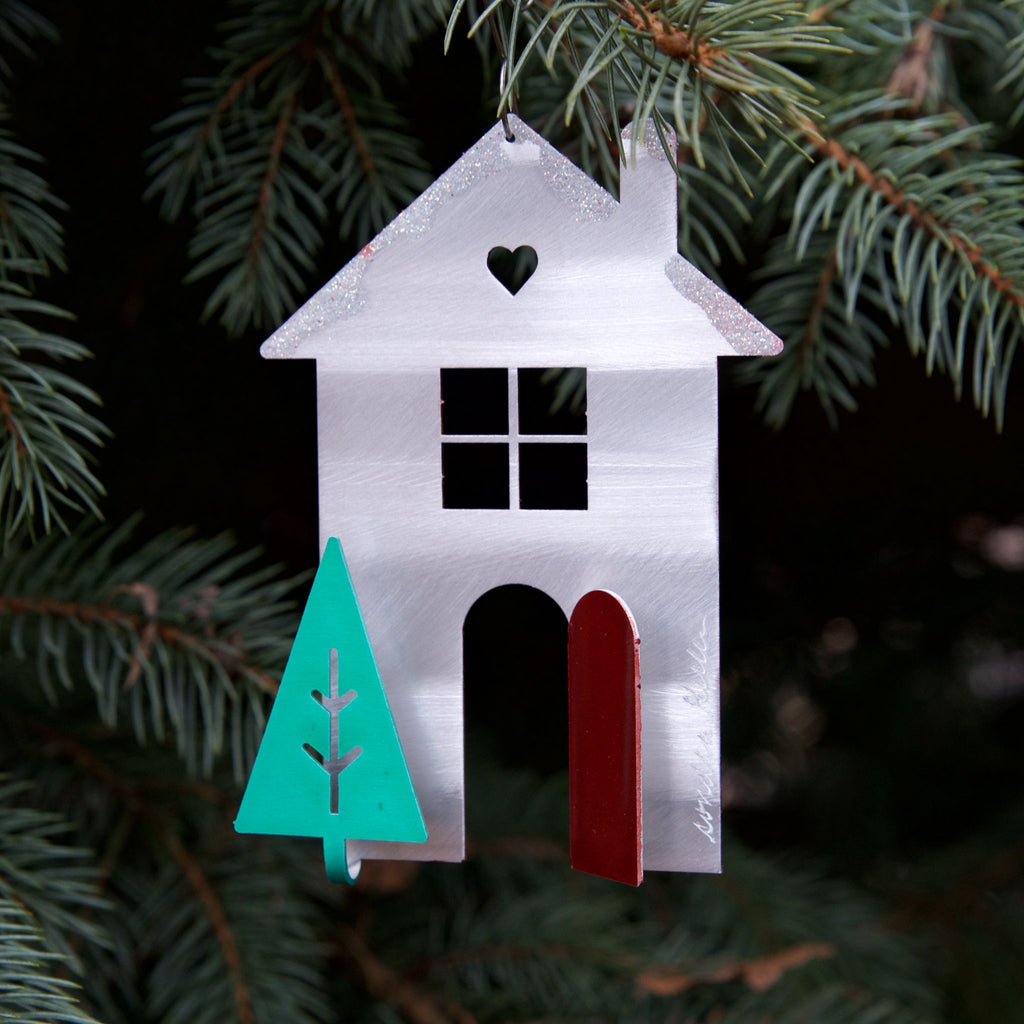 Christmas Cottage ornament by Sondra Gerber - © Blue Pomegranate Gallery