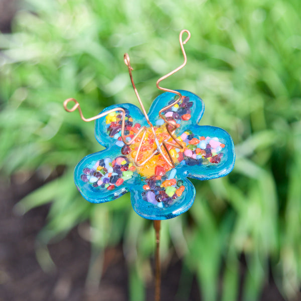 Fused Glass flower on stake by Heidi Riha - © Blue Pomegranate Gallery