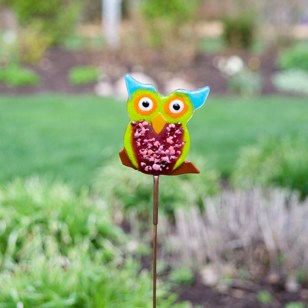 Bright Owl Garden Stake by Heidi Riha - © Blue Pomegranate Gallery