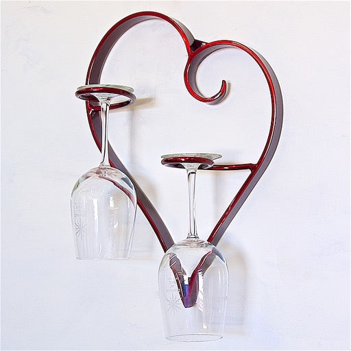 Cuore e vino Wine glass holder- Red-  by Patrick Neuwirth - © Blue Pomegranate Gallery