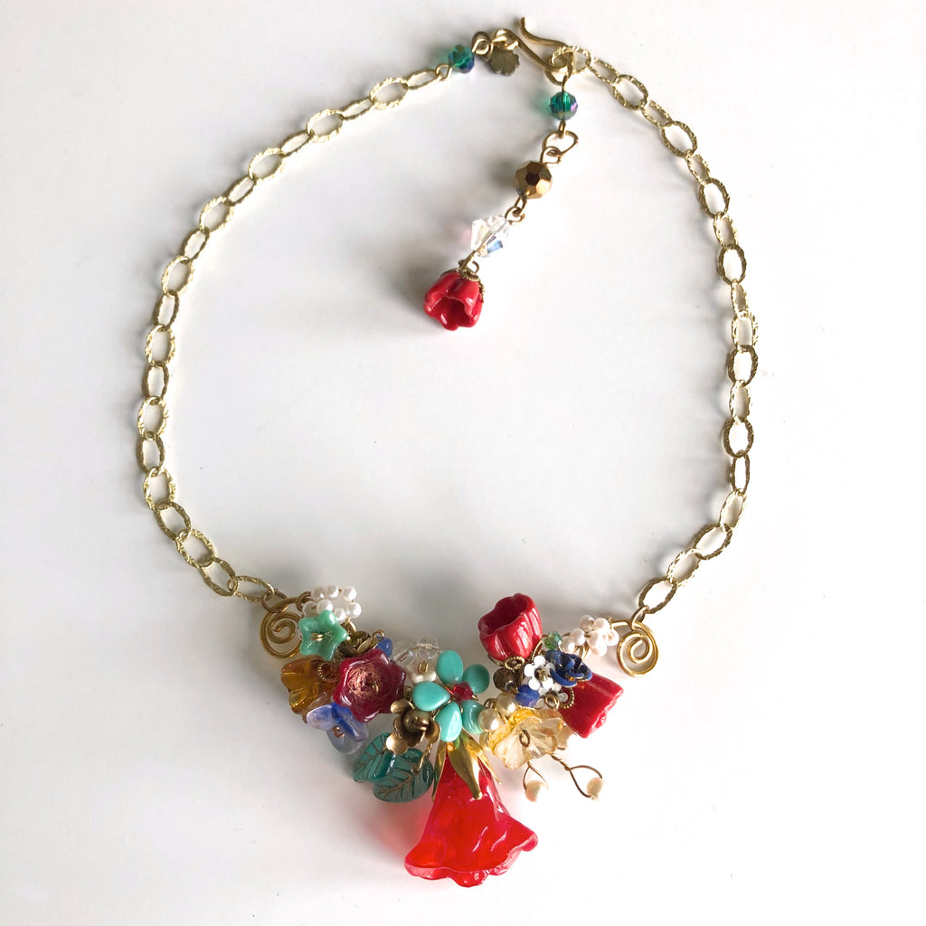 Red & Teal Primavera Necklace by Mary Lowe - © Blue Pomegranate Gallery